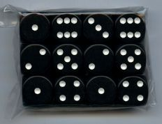 Twelve 6-sided Spot Dice: Black with White Spots